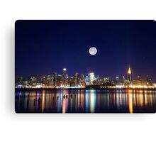 NYC skyline at night from New Jersey Canvas Print