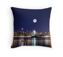 NYC skyline at night from New Jersey Throw Pillow