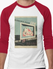 WPA United States Government Work Project Administration Poster 0744 World's Fair IBM Show Men's Baseball ¾ T-Shirt
