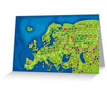 cartoon map of europe Greeting Card