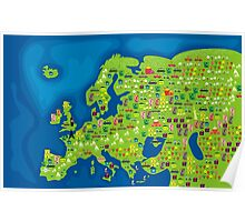 cartoon map of europe Poster