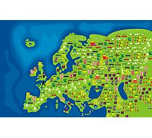 cartoon map of europe Photographic Print