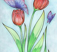 Tulips and Butterflies by Anny Hamel Bertrand