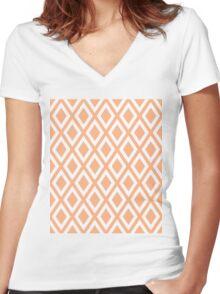 Peach Diamond Pattern Women's Fitted V-Neck T-Shirt
