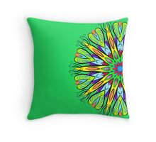 Simetric Colorful Ethnic Mandala Flower - Zentangle Throw Pillow