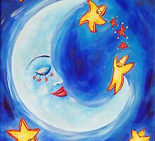 Sleeping moon and stars by MelleVaroy