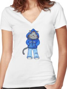 Bad Day Kitty Women's Fitted V-Neck T-Shirt