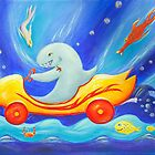 Funky shark racing underwater in a sports car by MelleVaroy