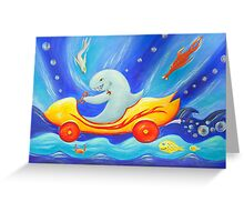 Funky shark racing underwater in a sports car Greeting Card
