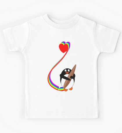 Penguin Painting with Rainbow Kids Tee