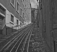funicular tracks in Lisbon. by naranzaria