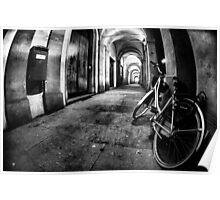 Fisheye Night Cityscape Bicycle Arches and lights - Italy Poster