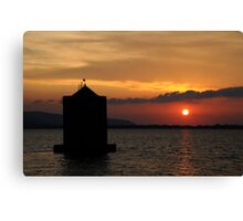 Sunset Mill silhouette in Tuscany Canvas Print