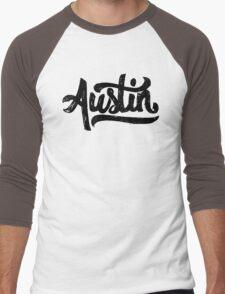 Brush Script Austin, Texas Men's Baseball ¾ T-Shirt