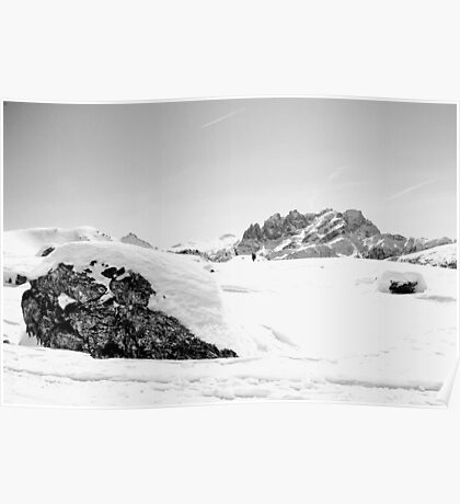 Dolomiti, snow, peaks and rocks in black and white Poster
