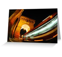 Cityscape City Bus speed transport Greeting Card