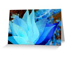 Blue and Turquoise Abstract Leaves Greeting Card