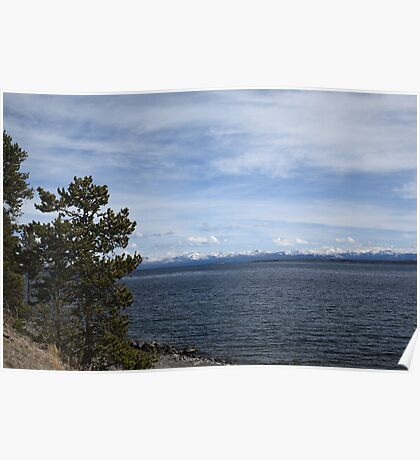 Yellowstone Lake and Mountains Poster
