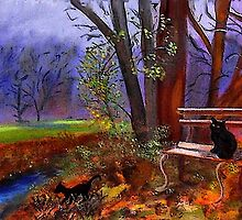 Black Cats In Park by hickerson