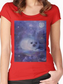Baby Seal on Ice Women's Fitted Scoop T-Shirt