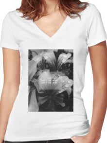 the 1975 - me lyrics flowers theme Women's Fitted V-Neck T-Shirt