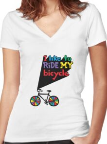 I like to ride my bicycle  Women's Fitted V-Neck T-Shirt