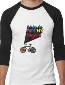 I like to ride my bicycle  Men's Baseball ¾ T-Shirt