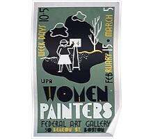 WPA United States Government Work Project Administration Poster 0177 Women Painters Federal Art Gallery Beacon Street Boston Poster