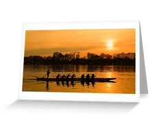 Group of people rowing to success Greeting Card