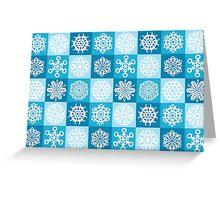 Checkered Snowflakes Greeting Card