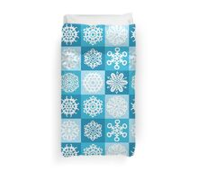Checkered Snowflakes Duvet Cover