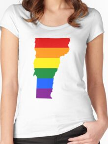 LGBT Flag Map of Vermont  Women's Fitted Scoop T-Shirt