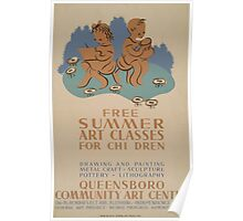 WPA United States Government Work Project Administration Poster 0598 Summer Art Classes For Children Queensboro Poster