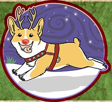 Rudolph the Red Nosed Corgi - Card by Blutfuss