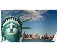 new york cityscape, nyc skyline over hudson river Poster