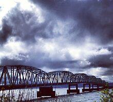 Cloudy Skies over Astoria Bridge by JULIENICOLEWEBB