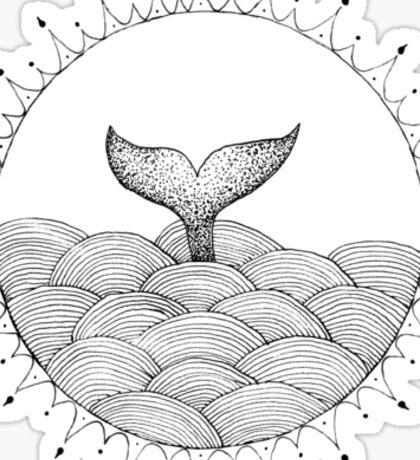 Whale in Waves Sticker