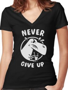 Never Give Up Women's Fitted V-Neck T-Shirt