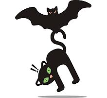 Halloween bat flying away with cute cat Photographic Print