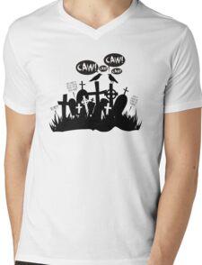 Funny loud crows Halloween cemetary graveyard Mens V-Neck T-Shirt