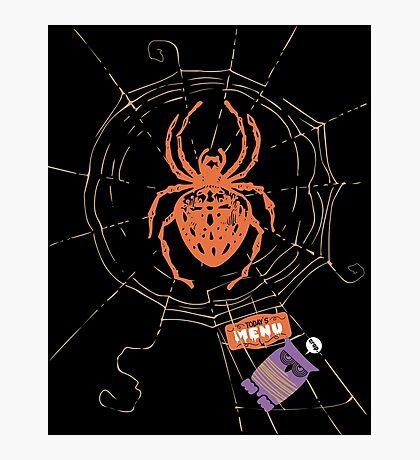 Funny spider web owl dinner menu Photographic Print