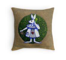 Gold Rabbit Alice Throw Pillow