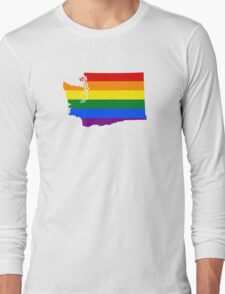 LGBT Flag Map of Washington  Long Sleeve T-Shirt