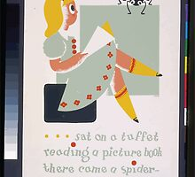 WPA United States Government Work Project Administration Poster 0266 Little Miss Muffet Picture Book Spider May I Have a Look by wetdryvac