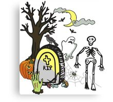 Halloween doodles slice of life skeleton ghost spider graveyard Canvas Print