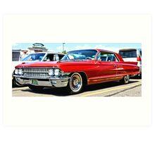 Red Classic Cadillac Art Print