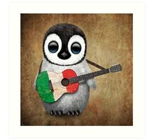 Baby Penguin Playing Italian Flag Guitar Art Print