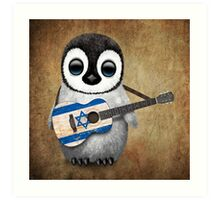 Baby Penguin Playing Israeli Flag Guitar Art Print