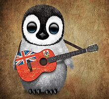 Baby Penguin Playing Bermuda Flag Guitar by Jeff Bartels