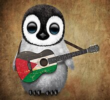 Baby Penguin Playing Palestinian Flag Guitar by Jeff Bartels
